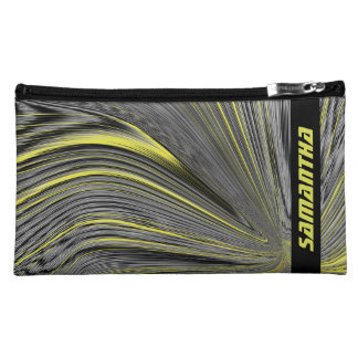 Abstract Yellow Warp Personalized Cosmetic Bag