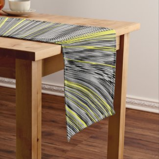 Abstract Yellow Warp Short Table Runner