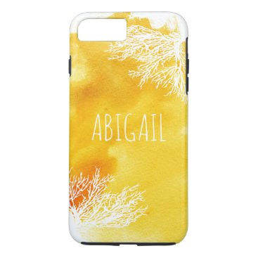 Beach Themed Abstract yellow watercolor splash and coral reef iPhone 7 plus case