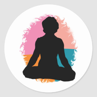 Abstract Yoga Girl Classic Round Sticker