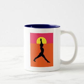Abstract Yoga Pose Two-Tone Coffee Mug