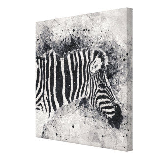 Abstract Zebra Animal Black and White Illustration Canvas Print