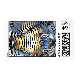 Abstract zebra pattern postage