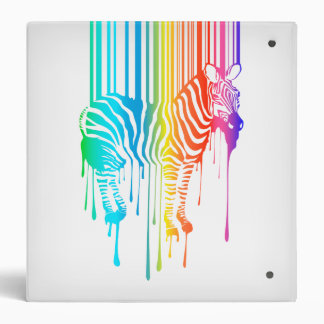 Abstract Zebra With Barcode 3 Ring Binders