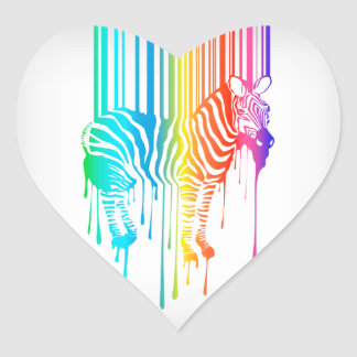 Abstract Zebra With Barcode Heart Sticker