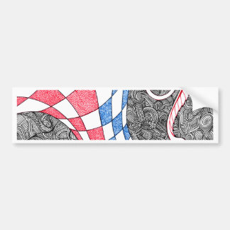 Abstract Zen Doodle Checkered Tube Red, White Blue Bumper Sticker