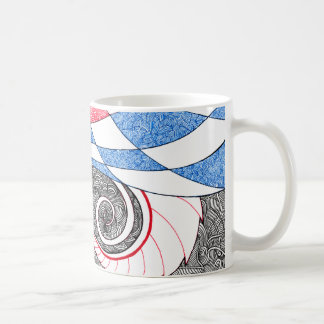Abstract Zen Doodle Checkered Tube Red, White Blue Coffee Mug