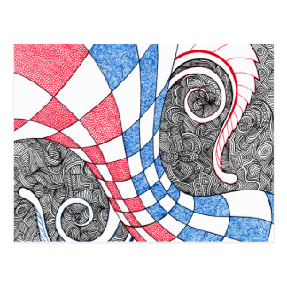 Abstract Zen Doodle Checkered Tube Red, White Blue Postcard