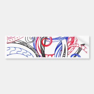 Abstract Zen Doodle Red White Blue Curls & Swirls Bumper Sticker