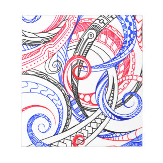 Abstract Zen Doodle Red White Blue Curls & Swirls Note Pad