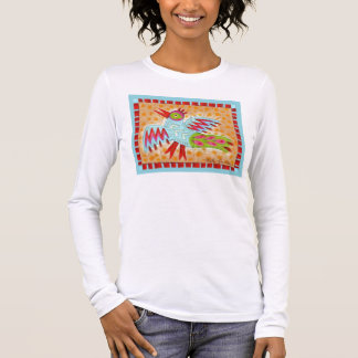 Abstract Zig Zag Blue Bird Long Sleeve T-Shirt