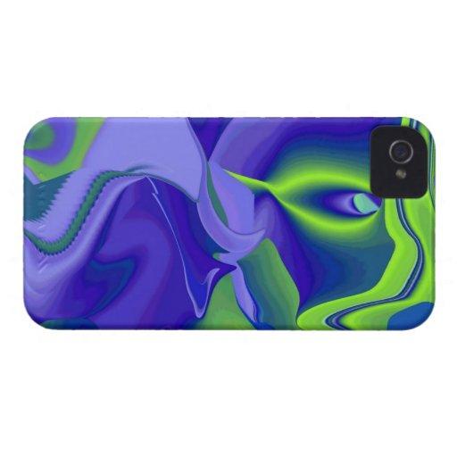 abstractamente lila en verde azul iPhone 4 Case-Mate fundas