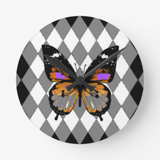 ABSTRACTED BLACK BUTTERFLY  &   BLACK-WHITE ROUND CLOCK