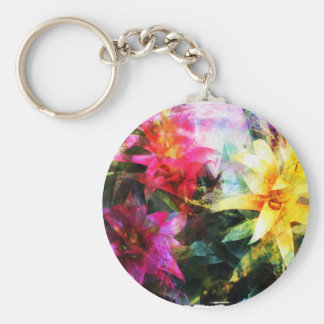 Abstracted Bromeliads Basic Round Button Keychain