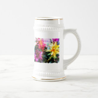 Abstracted Bromeliads Beer Stein