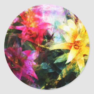 Abstracted Bromeliads Classic Round Sticker