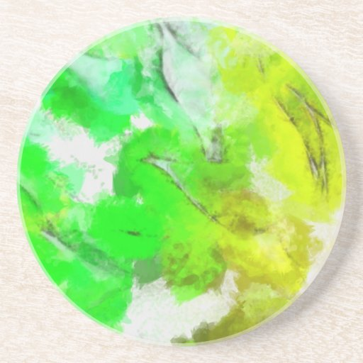 Abstracted Fresh Green Leaves Drink Coaster
