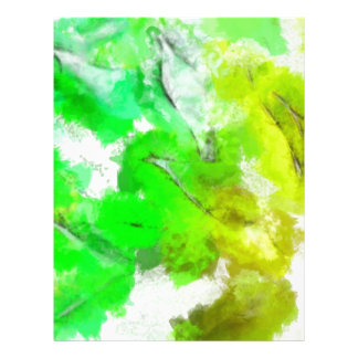 Abstracted Fresh Green Leaves Customized Letterhead