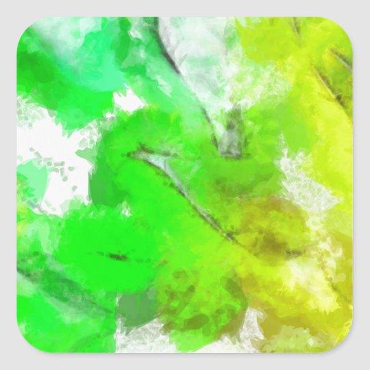 Abstracted Fresh Green Leaves Square Sticker