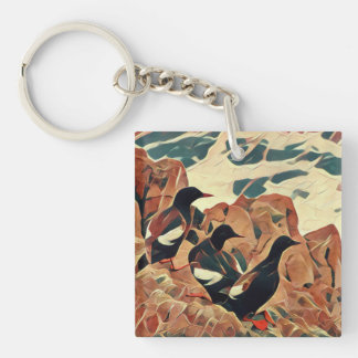 Abstracted Guillemots Keychain