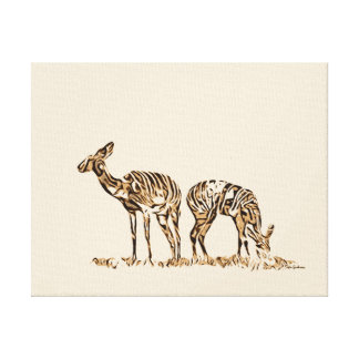 Abstracted Kudus Stretched Canvas Print