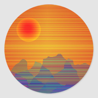 Abstracted Landscape Classic Round Sticker