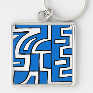 ABSTRACTHORIZ (648).jpg Silver-Colored Square Keychain