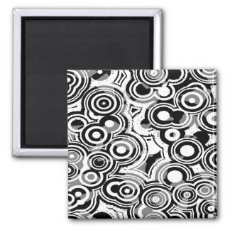 Abstraction Art Black And White Circles Magnet