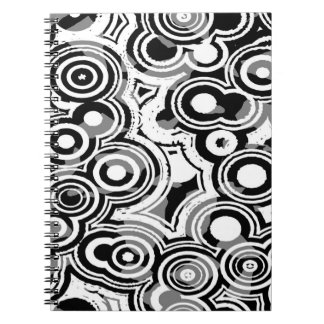 Abstraction Art Black And White Circles Notebook