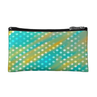 Abstraction Art Blue And Brown White Polka Dots Cosmetic Bag