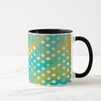 Abstraction Art Blue  And Brown White Polka Dots Mug