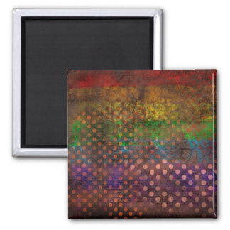 Abstraction Art Colored Grunge Brown Polka Dots Magnet