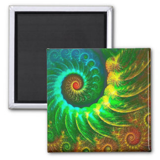 Abstraction Art Green And Brown Whirl Magnet