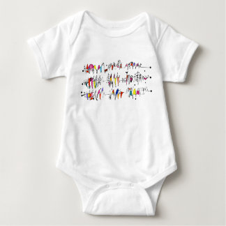 Abstraction from undulating lines baby bodysuit