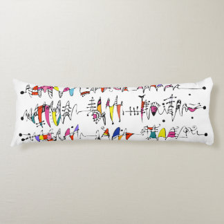 Abstraction from undulating lines body pillow