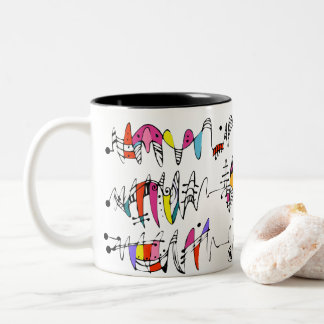 Abstraction from undulating lines Two-Tone coffee mug