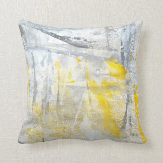 'Abstraction' Grey and Yellow Abstract Art Throw Pillow