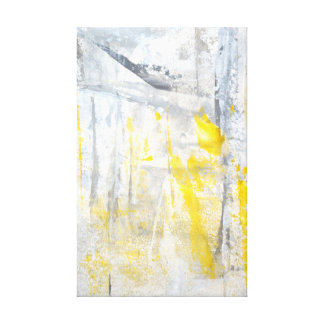'Abstraction' Grey and Yellow Art Canvas Print