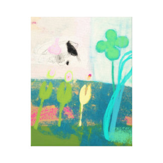 Abstraction of my flower garden with butterflies canvas print