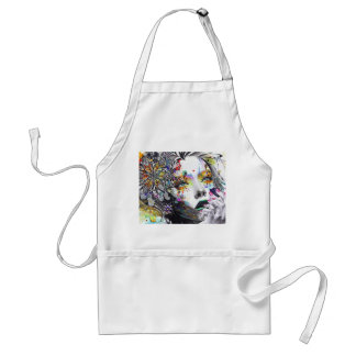 abstraction, painting, colorful girl paint flowers adult apron