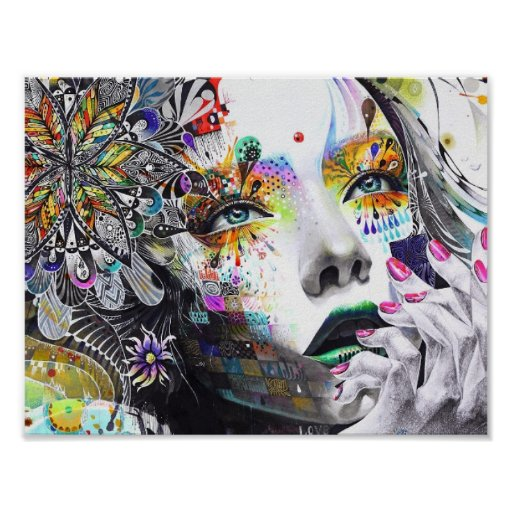 abstraction, painting, colorful girl paint flowers poster