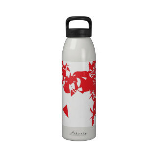 Abstraction red pink ENJOY curved lines Drinking Bottles