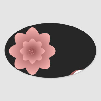 Abstraction silhouette Beautiful woman black red Oval Sticker