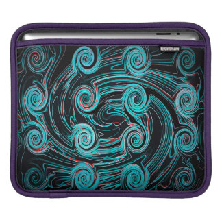 Abstractly Art Black And Blue Background Sleeve For iPads