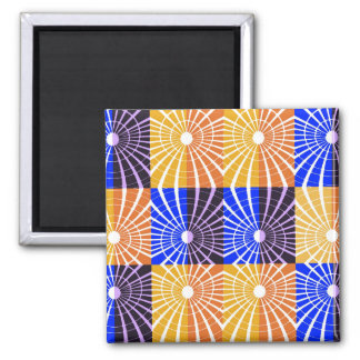 Abstractly Art Blue And Brown Grid Magnet