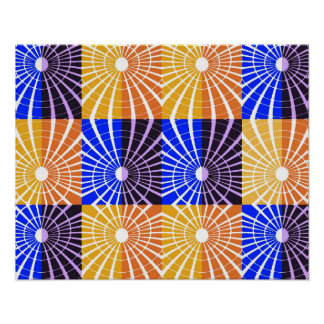 Abstractly Art Blue And Brown Grid Poster
