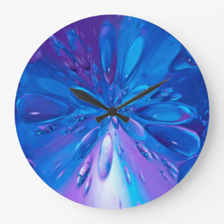 Abstractly Art Blue Water Drops Background Large Clock