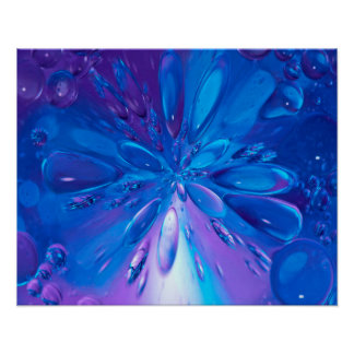 Abstractly Art Blue Water Drops Background Poster