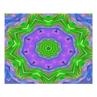 Abstractly Art Purple And Green Star Poster