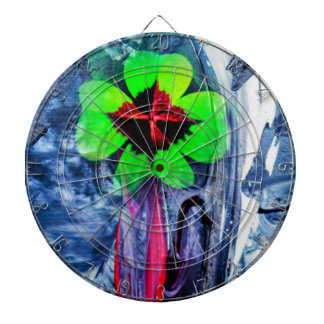 Abstractly in perfection luck dartboard with darts